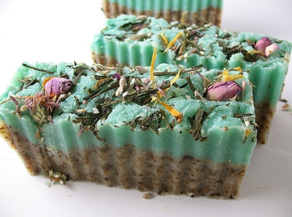 Rosemary Green Tea Soap Bar with Shea Butter and Young Living Essential Oils- VEGAN