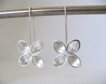 Sterling Silver Long Drop Pinwheel Earrings. Long Drop Statement Earrings.