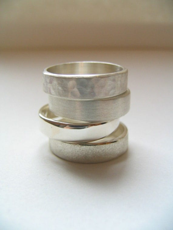 Custom Sterling Silver Band Ring Men or Womens Wedding Band or Everyday Band. Silver Wedding Band.