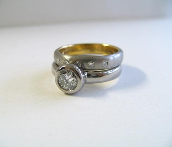Custom Diamond Engagement or Wedding Ring 14K White Gold and Diamond. Custom Engagement Ring.