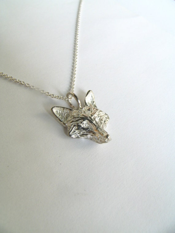 Sterling Silver Fox Necklace: Reserved for Dale.