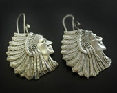 Native American Indian Chief Earrings in Sterling Silver