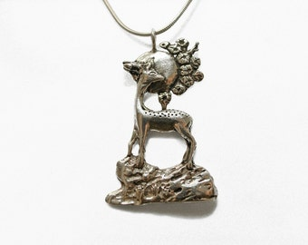 Deer Moon Necklace for your Dear Sweet in White or Gold Bronze