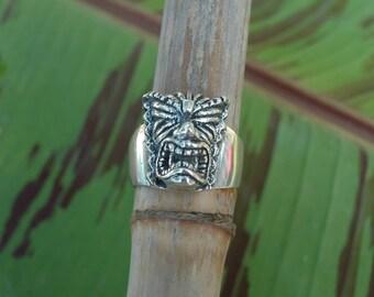The Small Design Kala Tiki (God of Prosperity) Ring in Sterling Silver