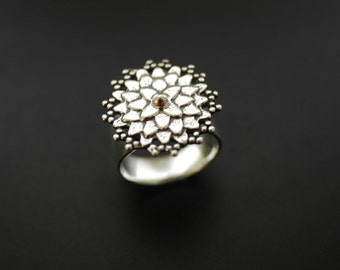 Dahlia Flower Ring in Sterling Silver