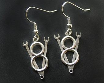 V8 Wrench Emblem Earrings in White or Gold Bronze