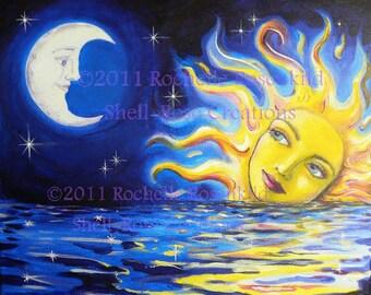 Solar Goddess and Moon Print  8 x 10 inch Celestial theme Sun and moon face