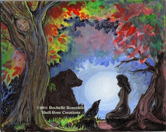 Totem animals Bear and Raven Painting Reproduction Print  8 x 10 in.  -  CAAT