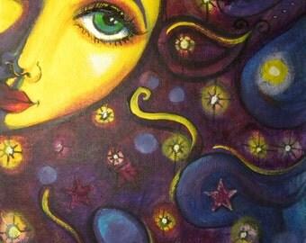 "Sun face painting Celestial goddess art print 8 x 10"" whimsical decor CaaT"