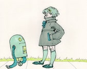 Oh, Hello - 8x10 Robot Art Print Signed - On sale!