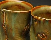 35% OFF SALE -- Set of 2 Extra-Large Tumblers in Ochre -- Handbuilt Porcelain