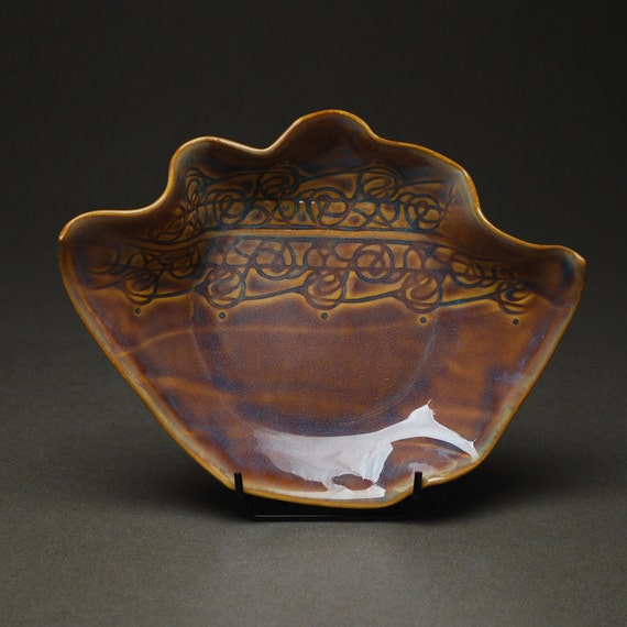 35% OFF SALE -- Wave Bowl in Tobacco Blue -- Handbuilt Porcelain