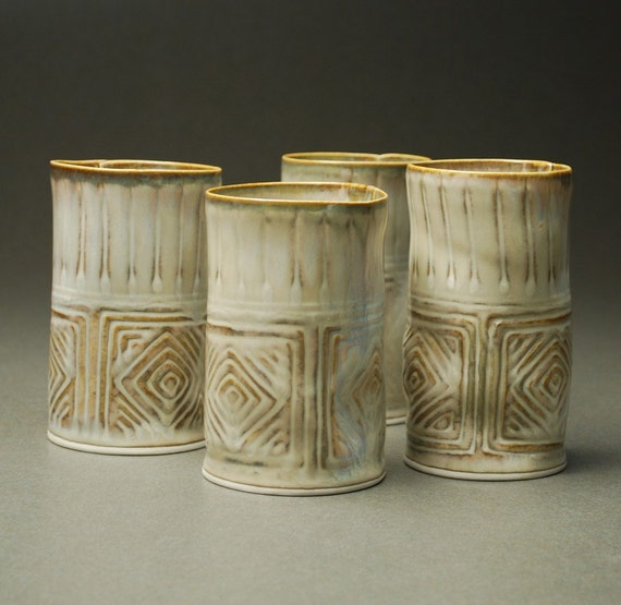 HOLIDAY SALE -- Set of 4 Tumblers in Ivory -- Handbuilt Porcelain