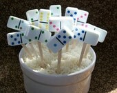 12 Domino Cupcake Toppers Cake Decorations