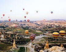 "Ascending Explosion (8 x 8"" Colour Limited Edition Signed Photographic Print) Hot Air Balloons, Cappadocia, Turkey, Original Art"