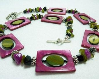 Fushia and Olive Shell Necklace