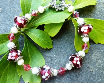 Cherry Lampwork and Freshwater Pearl Bracelet