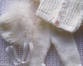 Knitted Clothes Outfit for a Reborn Baby Doll/Tiny Tears sized Dolly/Raggy Doll/Preemie Baby - stunning - MADE TO ORDER