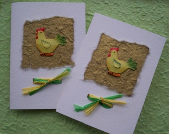 Blank Notecard,Thankyou card, New Baby, Baby Shower Card/Invitation - Set of 2 - Chickens