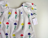 Single Flower Print Smock Top - Size 0 1 2 3 4 and 5 (6 months, 1T - 5T)