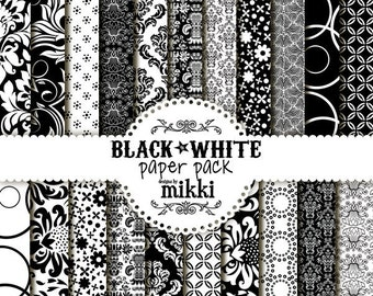 Digital Papers- Black & White Paper Pack (25)