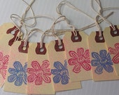 Pink and Blue Flower Hang Tags with Pink Glitter