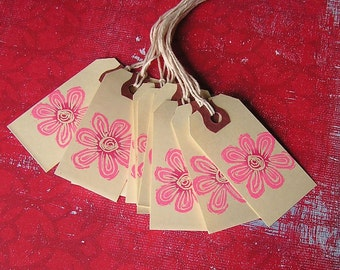 Pink Flower Hand Stamped Tags, Set of 10
