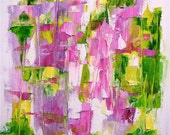 """Painting, on offer, original abstract oil, bright spring colours, pink, green  oil on canvas 12 x 10, """"Bright Young Thing (II)"""""""