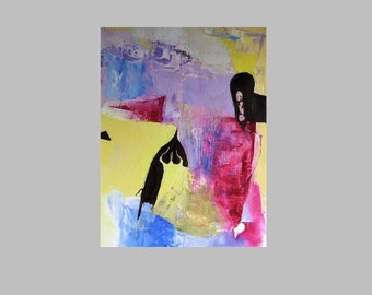 Painting, abstract, small,  yellow, dark brown, deep pink, lilac, blue, 11 x 8
