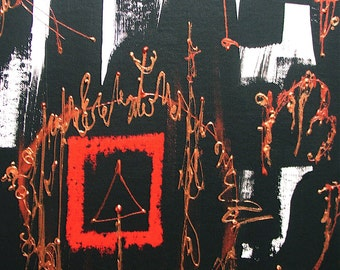 Abstract painting, black, white red copper and gold, 16 x 12 inches