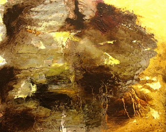 "Abstract painting, original oil, small, ""Oh, Whistle and I'll Come to You"" golden, brown, 10.5 x 12 inches"