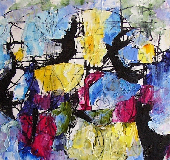 Abstract painting, original, gestural, blue,  rose,  black, yellow, on offer, 15 x 11