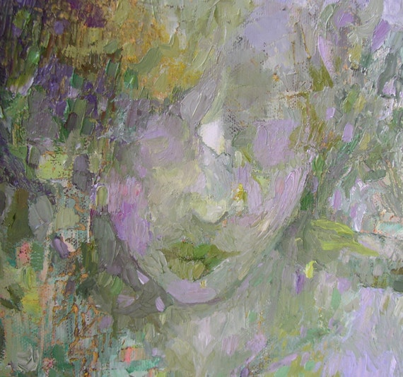Painting, original oil,  spring woodland, figure, green, lilac, pastel shades, 20 x 16