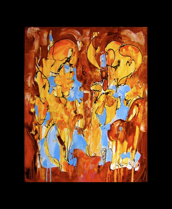 Breton Ballad, abstract painting, original oil, gestural, automatist, gold, russet, blue, 20 x  16