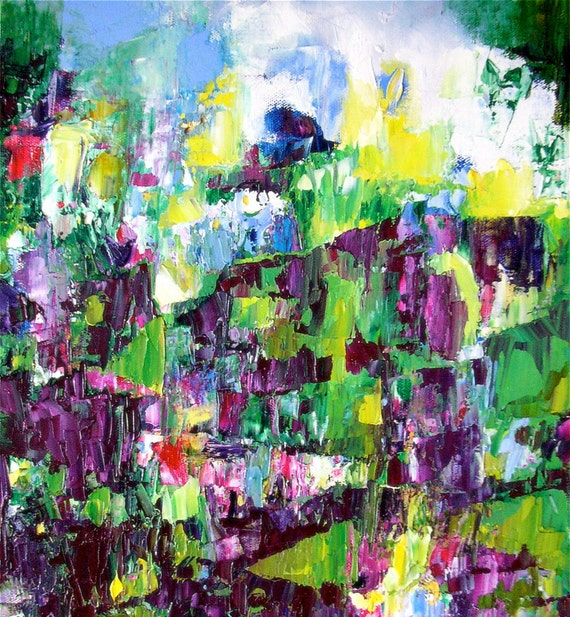 "Painting, abstract landscape, on offer, original oil, bright summer violet green vineyard colours, 16 x 12, ""Enivrez-Vous"""