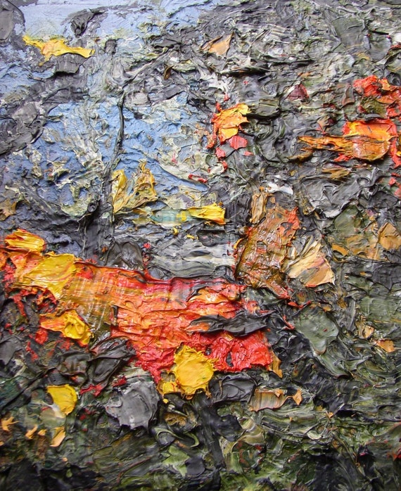 "Abstract landscape painting, small,  ""Crunchwood"", autumn woodland fallen leaves, 12 by 10 inches"