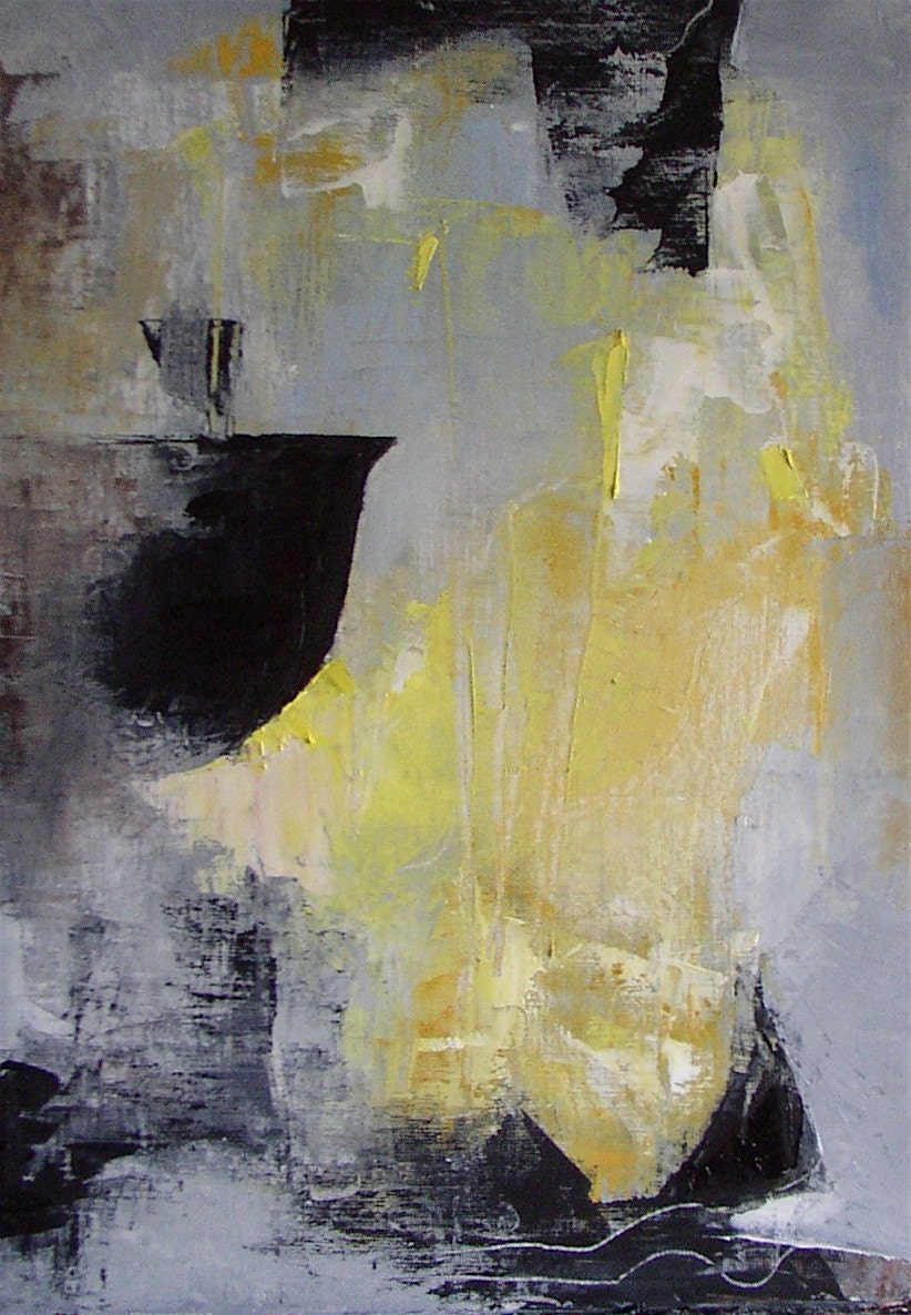 Abstract painting yellow grey black white Steam Yellow Black Abstract Paintings
