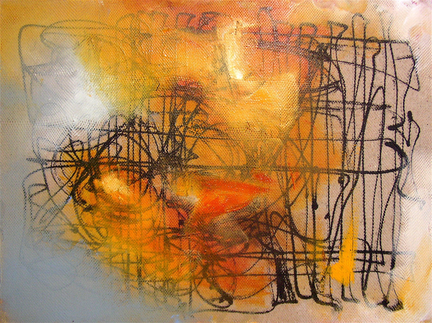 Abstract Gestural Painting Small Amber Orange Grey Autumn