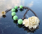 Rose Necklace. White Rose necklace. Asymmetrical  necklace. White rose and green beads necklace