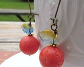 Sunny Fruit Earrings. Brass Kidney earrings with orange beads and glass leaves