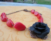 Black Rose Necklace. Handmade Jewelry. Rose Necklace. Polymer Clay Rose Necklace. Black Rose and Red Beads Necklace Nature Inspired .