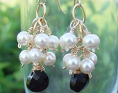 Pearls and jet black briolette Earrings