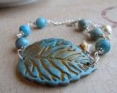 Wedding Bracelet. Turquoise Blue Bracelet. Bridal Leaf Bracelet.