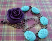 Purple Rose Necklace .Polymer Clay Rose necklace with Howlite Turquoise Beads