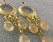 Golden Rutilated Quartz Chandelier Earrings