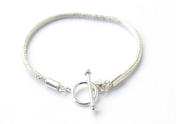Sterling Silver Rope Chain Toggle Bracelet for European Charm Beads 19 cm 7.5 inches