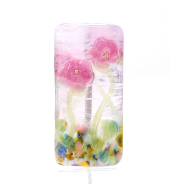 Lampwork Bead Glass Handmade Flowers in the Fog Pink Floral Focal CZ cubic zirconia