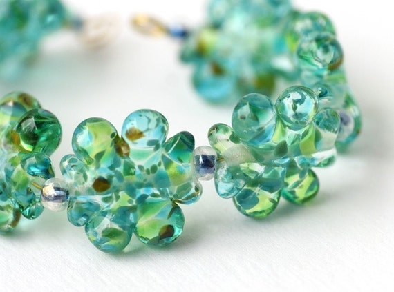 Lampwork Glass Bead Set in Blue and Green