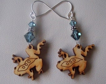 Wooden Frog Earrings