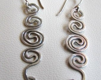 Hammered sterling wire earrings